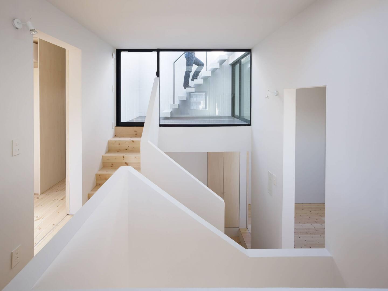 青戸の住宅の螺旋階段2階部分