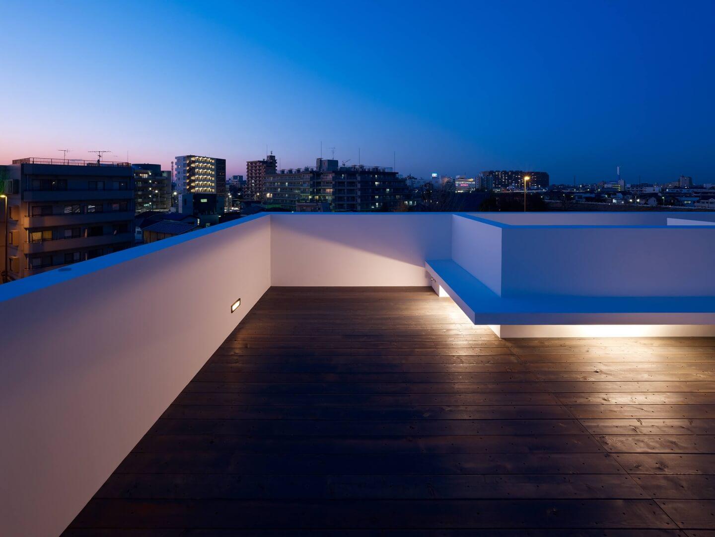 青戸の住宅の屋上からの夕焼け