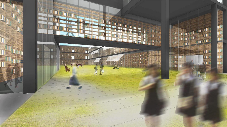 (仮称)駅前図書館等基本設計・実施設計業務委託公募プロポーザル 応募案の中庭イメージ