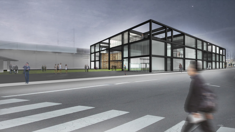 (仮称)駅前図書館等基本設計・実施設計業務委託公募プロポーザル 応募案の外観イメージ
