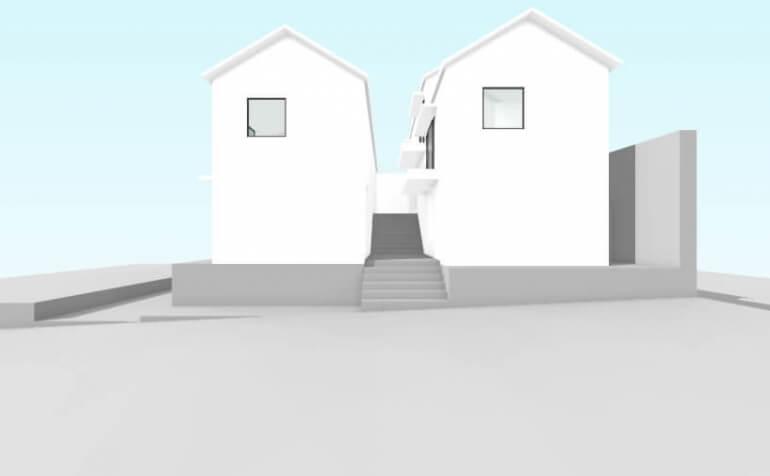 北方の長屋の東立面イメージ