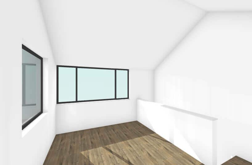 北方の長屋の大きな窓がある内観イメージ