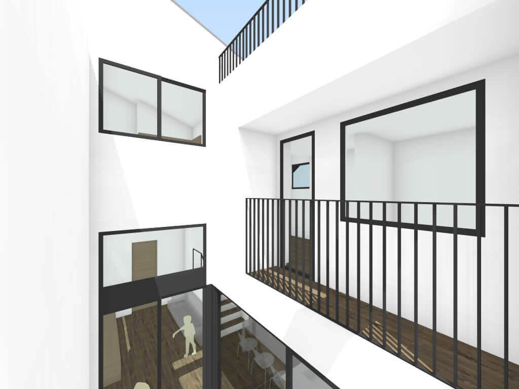 調布の住宅2階からの中庭イメージ