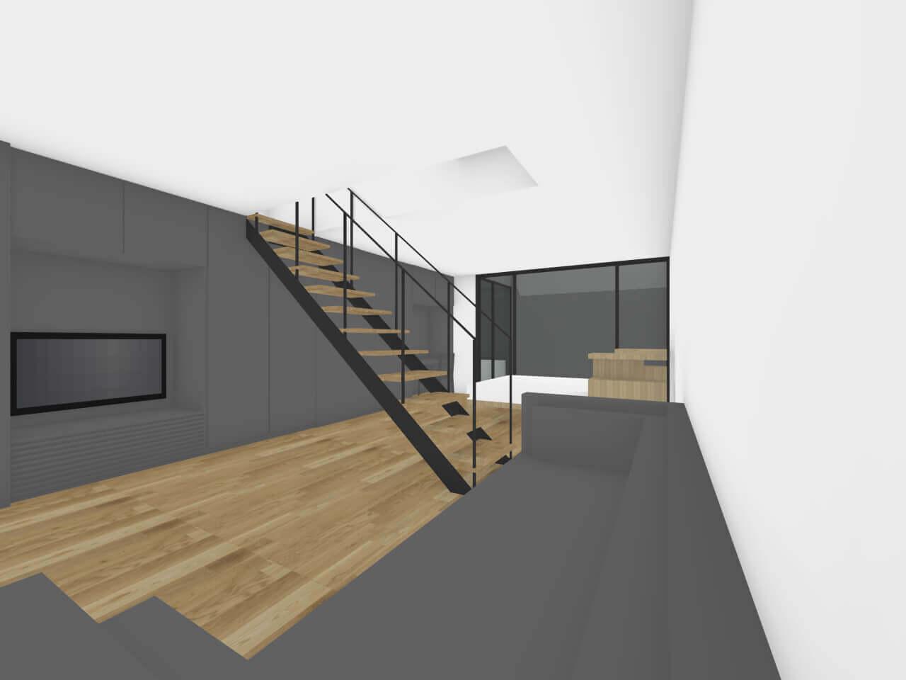 瀬田の住宅地下1階リビングにはTVスペースあり