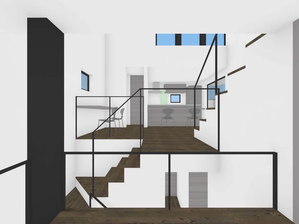 奥沢の住宅のロフトと2階