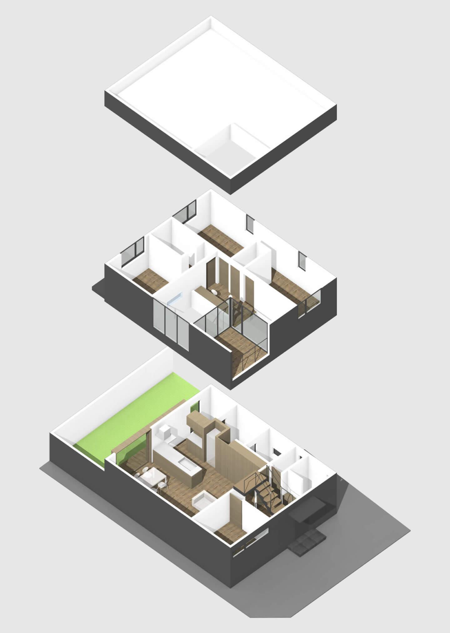中山の住宅の階層設計